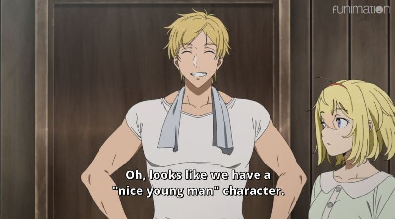 """a strapping, smiling man. subtitle: Oh, looks like we have a """"nice young man"""" character"""