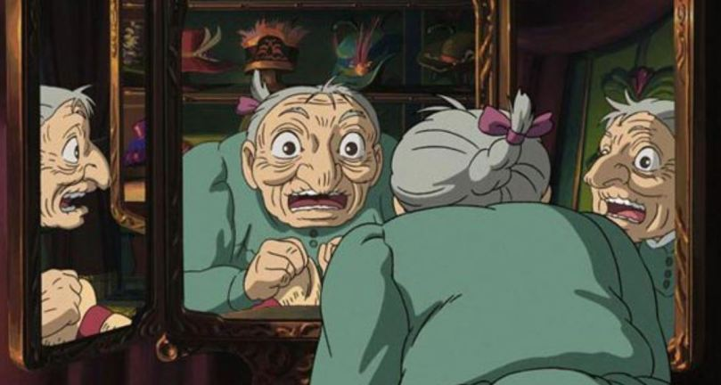 sophie reacting with fright to the sight of her now elderly face in the mirror