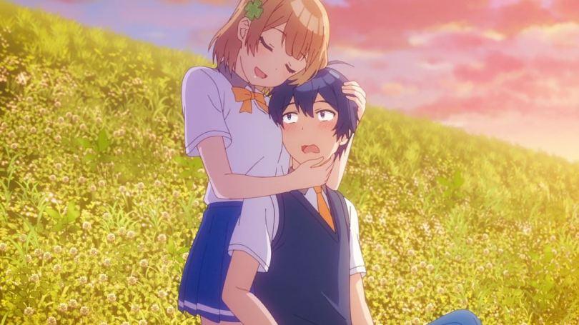 Kuroha hugging a blushing Haru to her chest