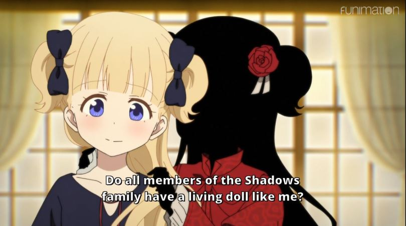 Kat doing the doll's hair, the two have identical silhouettes. subtitle: Do all members of the Shadows family have a living doll like me?