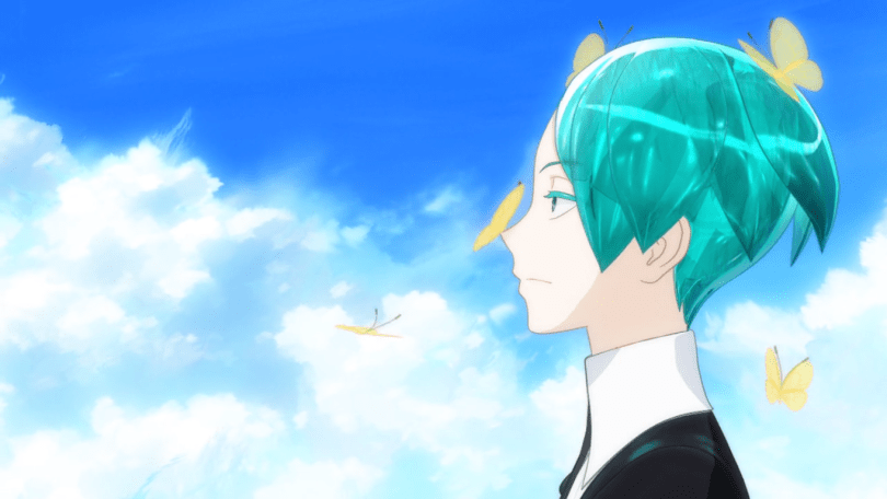 Closeup of Phos in profile, with their green hair cut short. Five golden butterflies are fluttering around their face, one has landed on their nose