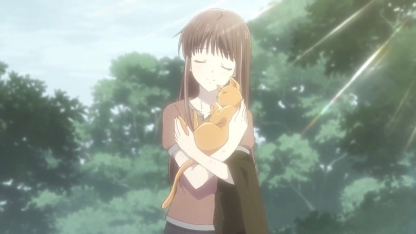 Tohru (Fruits Basket) embracing a sleeping, contented orange cat