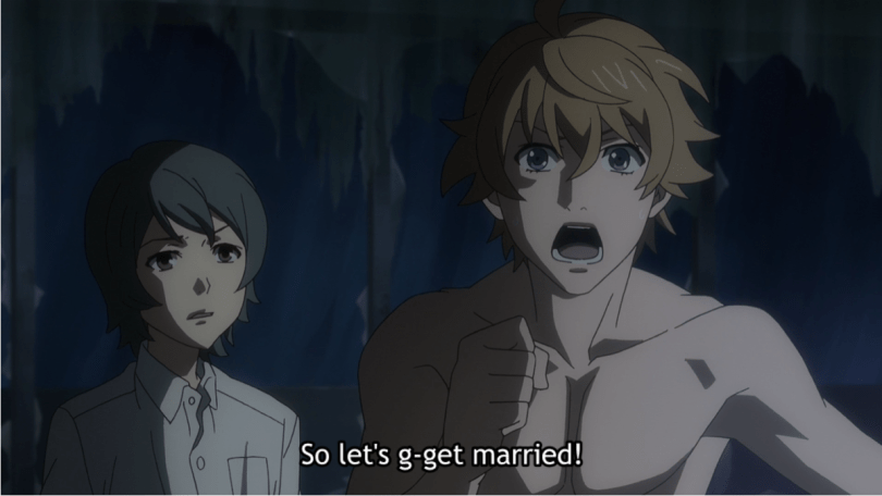 same image, new dialogue. subtitle: So let's g-get married!