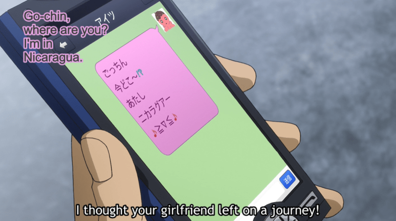 """Goto's new phone with a text from """"her."""" subtitle: I thought your girlfriend left on a journey!"""