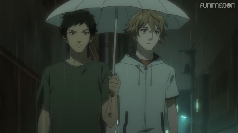 Masayoshi and Goto sharing an umbrella