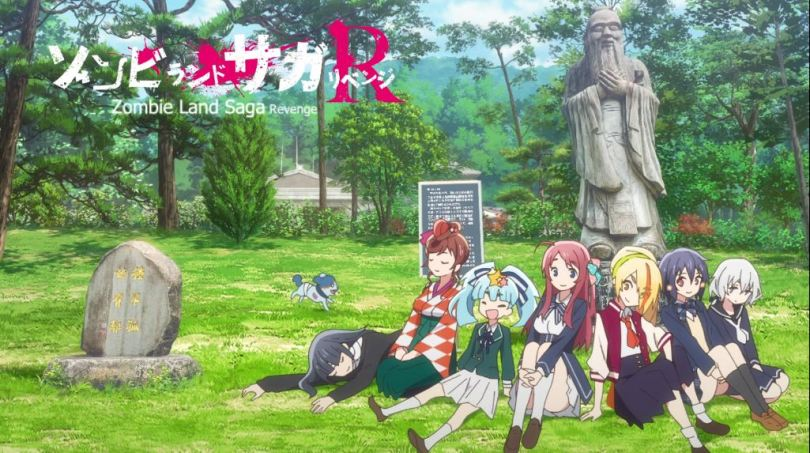 The girls of Zombie Land Saga sitting together on the grass in a vibrant green park