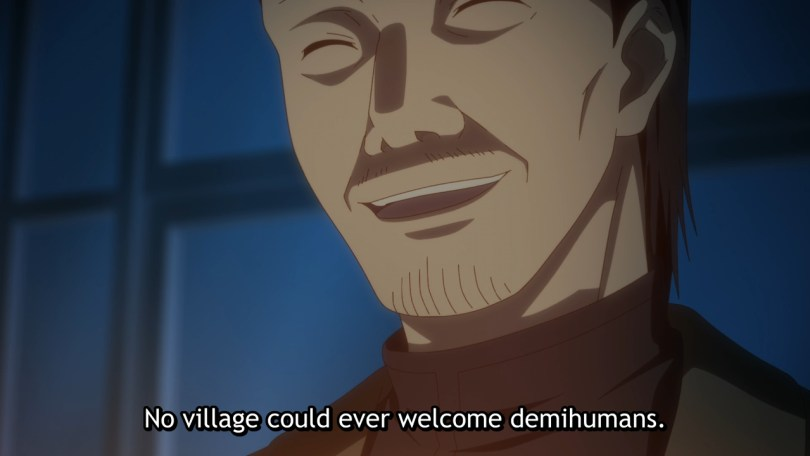 A man with narrow eyes smiles in eerie candle light. Subtitle: No village could ever welcome demihumans.