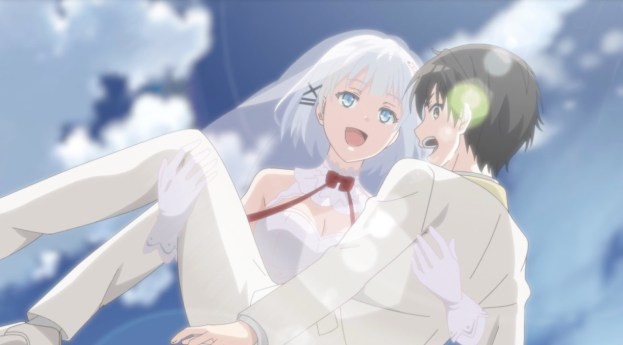 Siesta holding Kimihiko like a bride and jumping in the sky together.