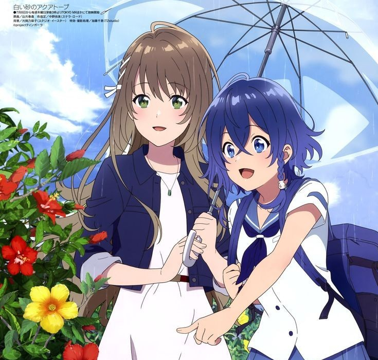 the heroines of aquatope on white sand sharing an umbrella and looking at flowers