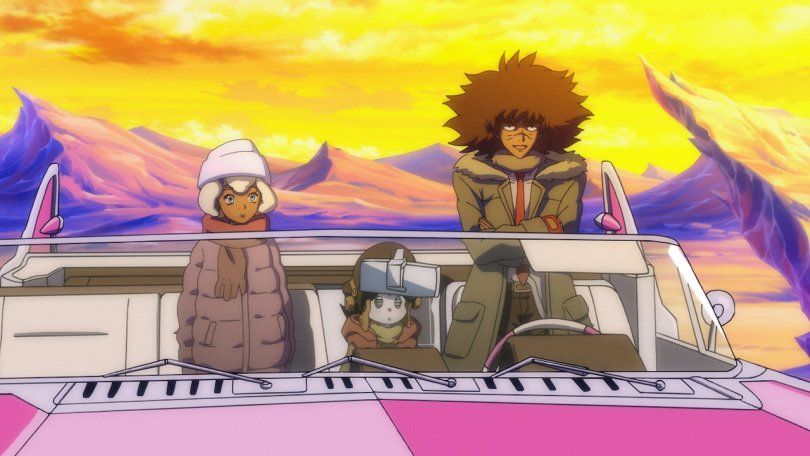 Philly, Sam, and Caset sitting in a pink car against a desert backdrop