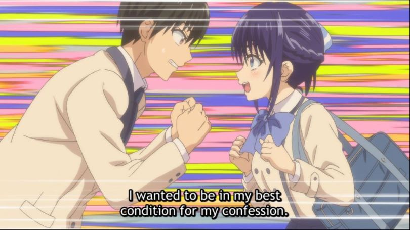 Nagisa and Naoya geeking out. subtitle: I wanted to be in my best condition for my confession