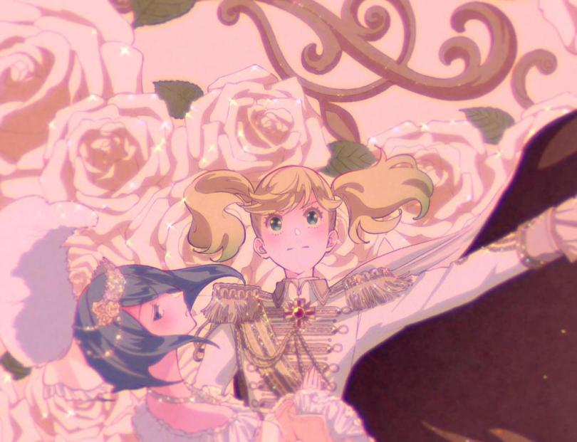 Ai and Sarasa from Kageki Shoujo dressed as Marie and Oscar from Rose Versailles against a background of roses