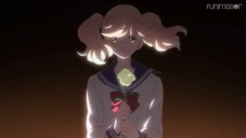 Sarasa smiling and holding a rose