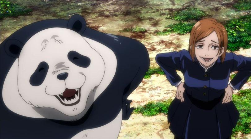 Nobara and Panda looking at the camera, smug and mocking
