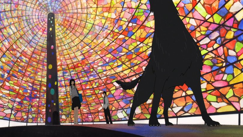 A stained glass wall with an obelisk in the background and a howling wolf silhouette in the foreground, observed by two human figures