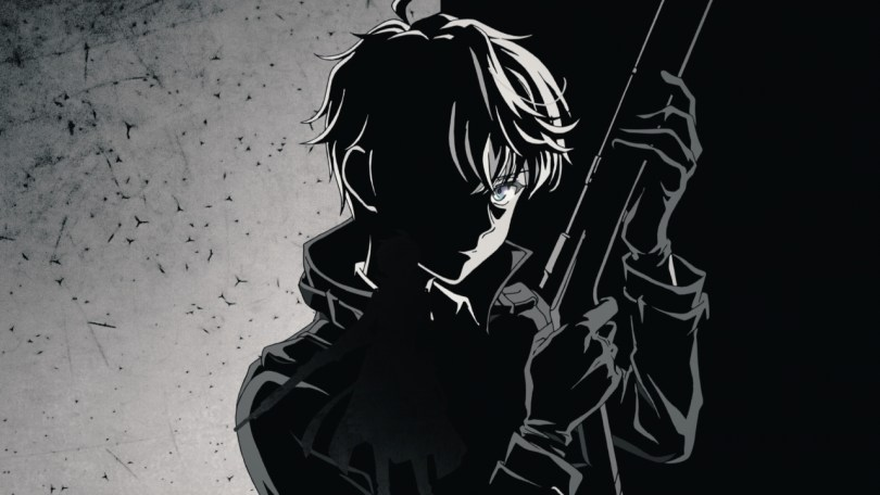 A shadowy black and white image of a yong boy holding a rifle