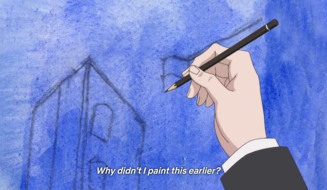 Yatora penciling in buildings in his blue painting