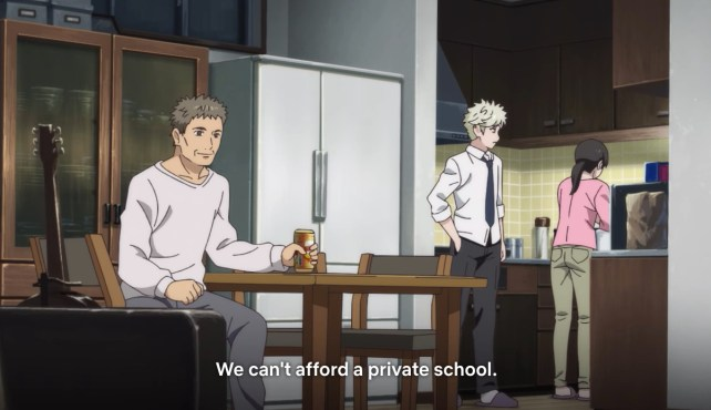 Yatora's mom reminding him they can't afford a private university