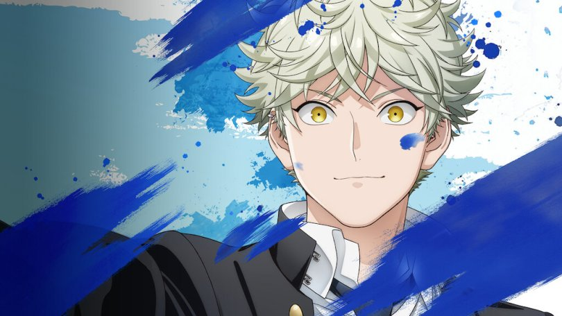 The protagonist of Blue Period surrounded by splashes of blue paint
