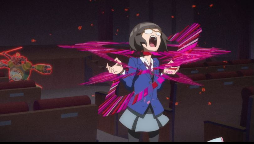 a girl screaming as spectral gears appear around her