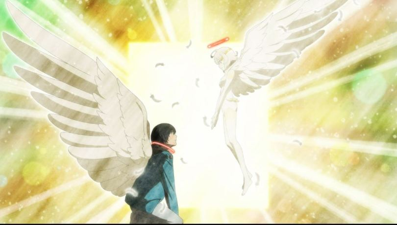 Nasse holding out her hand to a winged Mirai, brilliant light between them