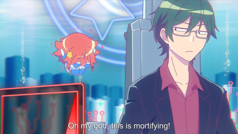 An embarassed chibi Rin getting the side-eye from Hosomichi. subtitle: Oh my god, this is mortifying!