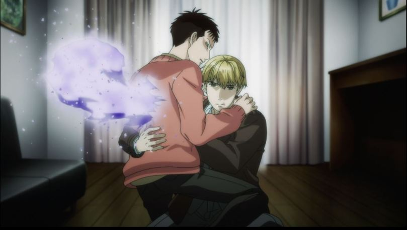 Hiyakawa holding Mikado as supernatural energy bursts out of the latter's back