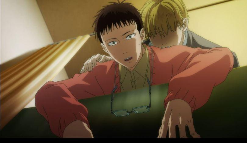 Mikado leaning over a bathtub slack-faced while Hiyakwawa bites his shoulder
