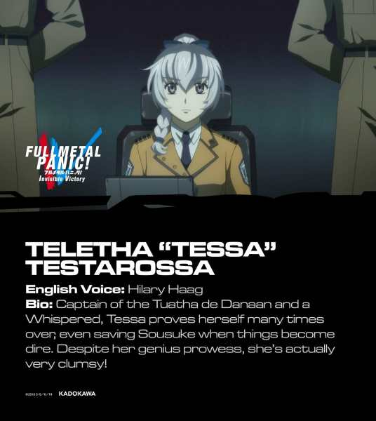 "Full Metal Panic! Invisible Victory Dub Cast Visual - Teletha ""Tessa"" Testarossa"