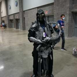 Photo of a cosplayer at Otakon 2021 dressed as Noob Saibot from Mortal Kombat