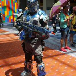 Photo of a cosplayer at Otakon 2021 dressed as a character from Warhammer 40,000