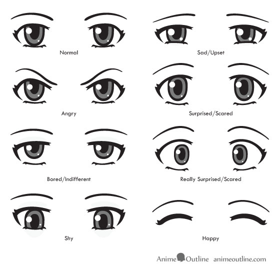 How to Draw Anime Eyes and Eye Expressions Tutorial | Anime Outline