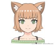 draw anime cat girl ears