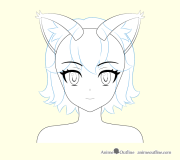 draw anime cat girl ears