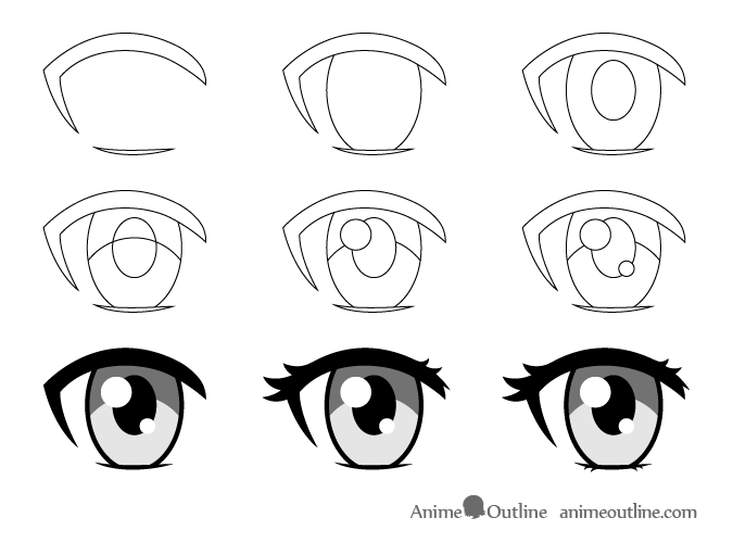Female anime eye drawing step by step