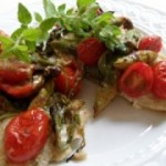 Tilapia with Asparagus, Cherry Tomatoes, Arugula and Fresh Herb Vinaigrette