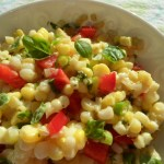 Fresh Corn, Red Pepper and Basil Salad