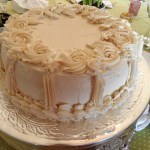 White Cake with Marzipan and Raspberry Filling and Buttercream