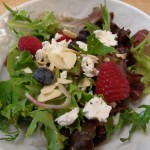 Salad with Raspberries, Blueberries, Shallots, Toasted Almonds and Goat Cheese with a Raspberry Vinaigrette