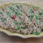 Israeli Couscous Pilaf with Peas and Red Pepper