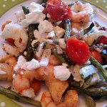 Roasted Mediterranean Shrimp with Artichokes, Green Beans, Tomatoes, Olives and Feta