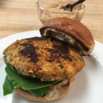 Mediterranean Chickpea Burgers with Sundried Tomatoes with a Sundried Tomato, Basil, and Garlic Aioli