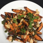 Grilled Sweet Potato Wedges with Chimichurri Sauce and Chipotle-Cilantro Aioli
