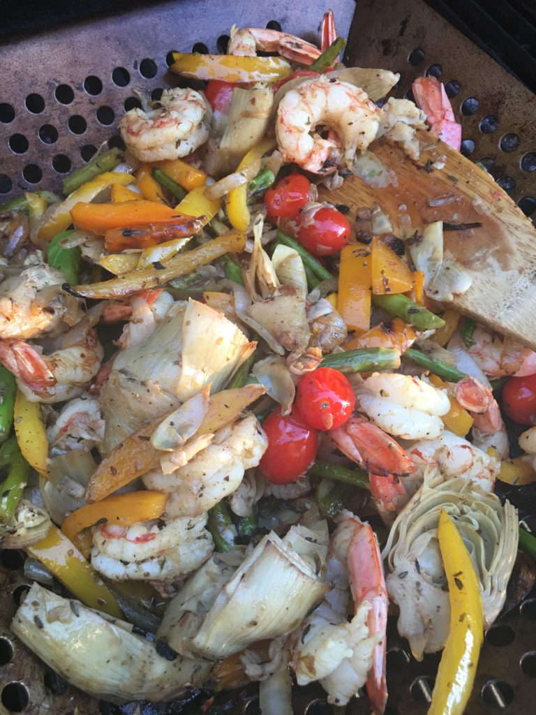 Grilled Shrimp with Artichoke, Asparagus, Yellow Pepper, and Cherry Tomatoes