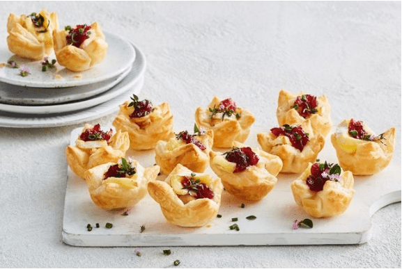 Quick chicken, cranberry and brie canapes