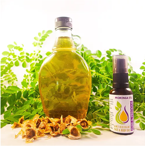 Moringa oil penetrates deeply into the skin, assisting in plumping, firming the skin & retaining moisture