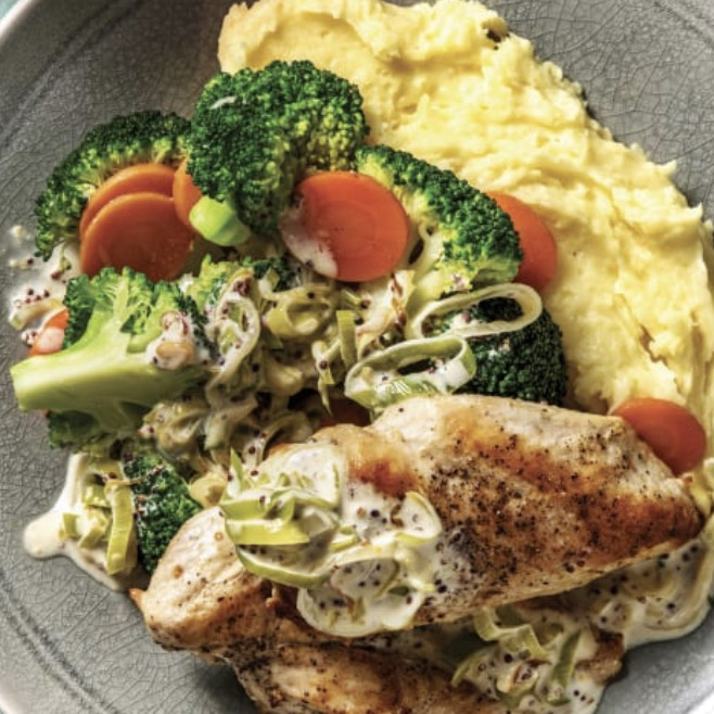 Creamy Leek & Mustard Chicken with Mashed Potato