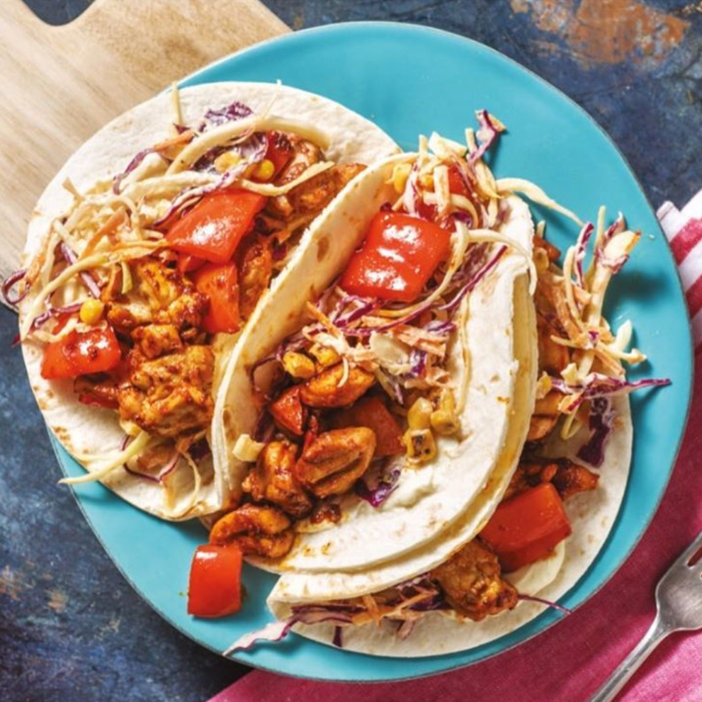 Portuguese Chicken Tacos with Charred Corn Slaw