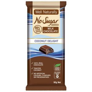Well Naturally No Sugar Added Milk Choc Coconut