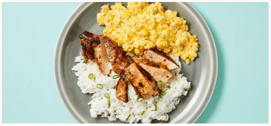 Jamaican Jerk Chicken with Coconut Rice and Creamed Corn